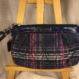 Coach NWOT rare leather/fabric wristlet/wallet